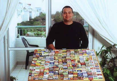 Amichay and his razor blade collection