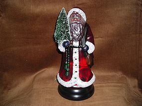MIDWEST GLASS CENTERPIECE LIGHTED SANTA