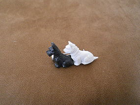 BLACK AND WHITE SCOTTISH DOGS SMALL BROOCH