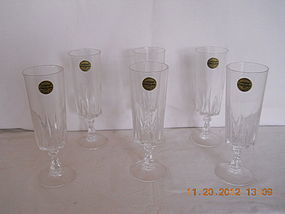 "FRANCE CRYSTAL D'ARQUES SET OF 6 CHAMPAGNE ""FLUTES"""