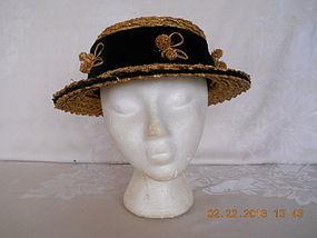 1950's  HAND MADE STRAW HAT