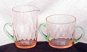 Morgantown Peacock Optic Pink & Green Sugar/Creamer