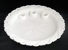 Milk Glass Holly Float Plate with Candle Holders