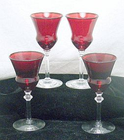 Ruby Red Cordial Wine Stems with a Knob