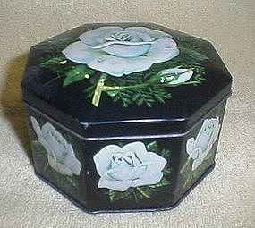 Hinged White Rose Tin