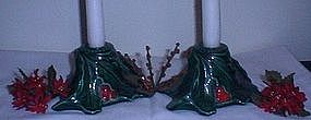 Ceramic Holly Candle Holders
