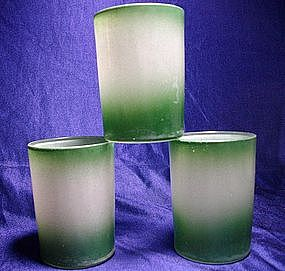 Hazel Atlas Green and White Juice Tumblers