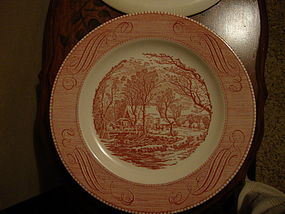 Currier and Ives The Old Grist Mill pink dinner  plate