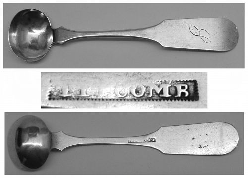 Maine Coin Silver Master Salt Spoon by Albert Titcomb, Ca. 1823-46