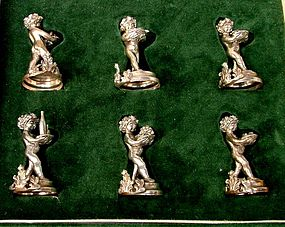 italian silver placecard holders, putti, cased