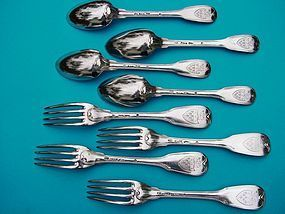 18th century French FIDDLE THREAD forks and