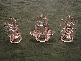 Pressed glass Angel candle set.