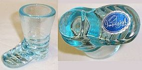 Imperial Glass Blue BOOT TOOTH PICK Holder, Orig Label