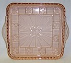 Jeannette Pink DORIC 8 In X 8 In HANDLED RELISH TRAY