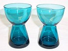 Morgantown Peacock Blue 4 Inch CANDLE HOLDERS, Pair