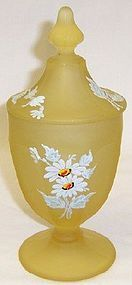 Westmoreland Yellow COLONIAL Daisy CANDY DISH w/Lid