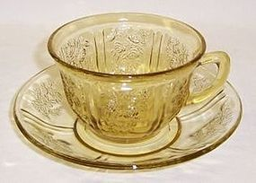 Federal Amber SHARON Cabbage Rose CUP and SAUCER