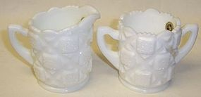 Westmoreland OLD QUILT Small CREAMER and SUGAR BOWL