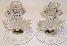 Fostoria Crystal MAYFLOWER Flame CANDLE STICKS, Pr