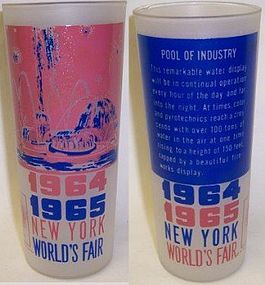 1964-65 New York WORLDS FAIR 6 1/2 In Frosted TUMBLER