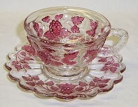 Westmoreland Ruby Flashed PANELED GRAPE CUP and SAUCER