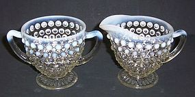 Anchor Hocking Opalescent MOONSTONE CREAMER and SUGAR