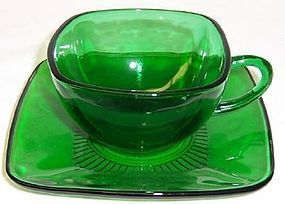 Anchor Hocking Fire King Forest Green Square CHARM CUP and SAUCER