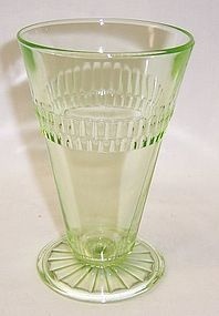 Hocking Green ROULETTE MANY WINDOWS 10 Oz FOOTED TUMBLER