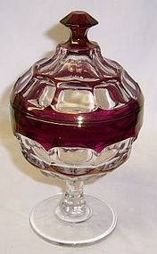 Westmoreland Ruby Flashed ASHBURTON 7 Inch CANDY DISH with LID