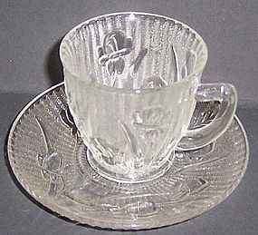 Jeannette Crystal IRIS and HERRINGBONE Demitasse CUP and SAUCER-Scarce