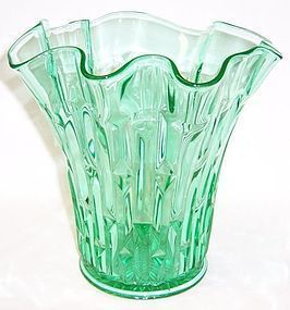 Central Glass Green No. 2010 FRANCES 10 Inch RUFFLED TOP VASE