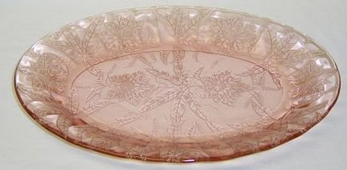 Jeannette Pink FLORAL POINSETTIA 10 5/8 Inch OVAL SERVING PLATTER
