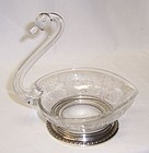 New Martinsville Crystal PRELUDE SWAN with STERLING BASE - Signed