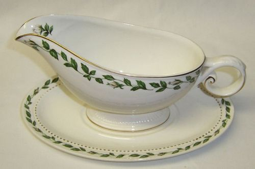 Hall China CAMEO ROSE GRAVY or SAUCE BOAT with UNDER PLATE