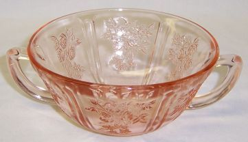 Federal Pink SHARON CABBAGE ROSE 2 Handled CREAM SOUP BOWL