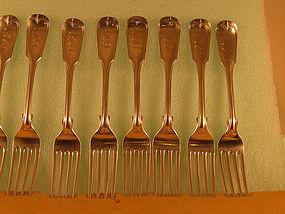 8 Dinner forks marked W.V.Brady, NY, circa 1840