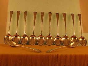 12 Dessert spoons by Isaac Hutton, Albany, circa 1790