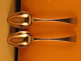 Pair of tablespoons marked B&J, style of 1790