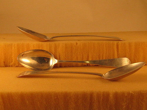 Three tablespoons by Joshua Weaver of West Chester,PA,c.1800