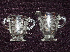 Fostoria NAVARRE 6.75 oz Sugar and Creamer Set, Crystal