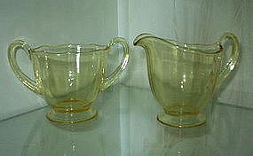 Fostoria FAIRFAX Regular Size Sugar Creamer Set Topaz