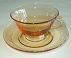 Fostoria SEVILLE Footed Cup and Saucer Set, Amber