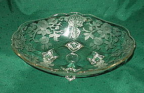 """Cambridge APPLE BLOSSOM 12"""" Footed Bowl, Crystal"""