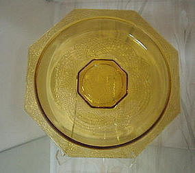 """LE Smith ROMANESQUE 10 1/2"""" Low Bowl, Amber"""