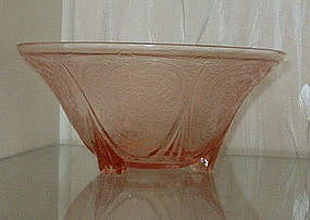 """Hazel Atlas ROYAL LACE 10"""" Footed Console Bowl, Pink"""