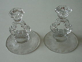 """Cambridge ROSE POINT #3400/646 5"""" Candlestick Pair, Cry"""