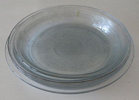 Fire King SAPPHIRE BLUE Philbe Pie Plates, Set of 3