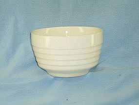 """Unmarked white pottery """"oatmeal"""" bowl"""