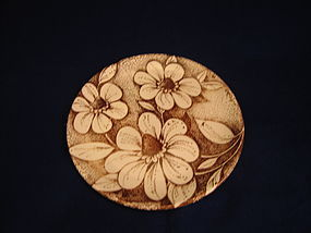 White Flowers Brown Spatter Plate