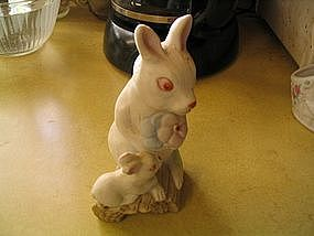 Ceramic Bunny Mother and Baby